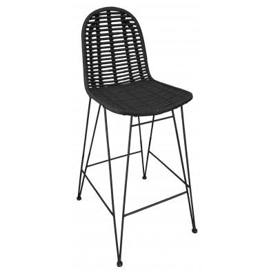 Chaise haute moderne  en rotin naturel et piétement métal coloris noir L. 49 x P. 60 x H. 110 cm collection Apfeldorf