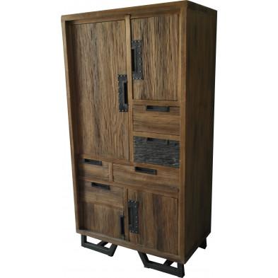 Buffet haut rustique en bois d'albizia avec 4 portes et 5 tiroirs coloris marron L. 80 x P. 45 x H. 152 cm collection Sade