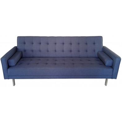Canapé 3 places style moderne en tissu coloris bleu L. 219 x P. 88 x H. 87 cm collection Askew