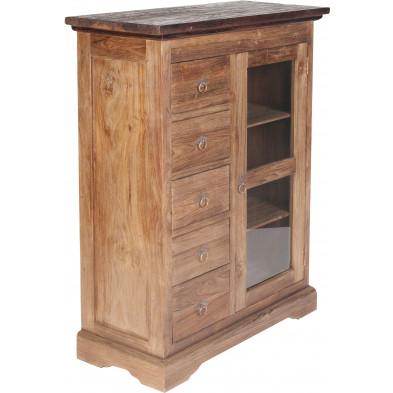 Meuble cabinet vitré  en teck recyclé avec 1 porte et 5 tiroirs coloris naturel L. 86 x P. 39 x H. 122 cm collection Jemima