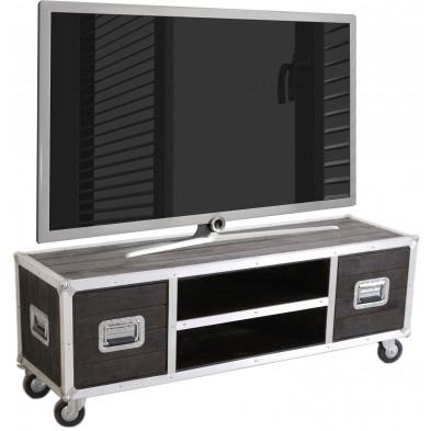 Meuble TV industriel en bois de manguier et aluminium avec 2 portes et 2 niches coloris marron et argent L. 140 x P. 40 x H. 50 cm collection Pennadomo