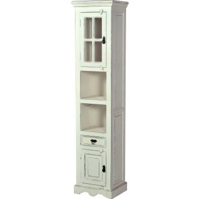 Colonne salle de bain contemporaine en bois de manguier et MDF avec rangements coloris blanc antique L. 44 x P. 35 x H. 188 cm collection Escucha