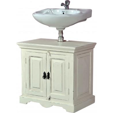 Meuble sous vasque contemporain en bois de manguier et MDF avec 2 portes coloris blanc antique L. 66 x P. 41 x H. 60 cm collection Escucha