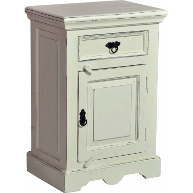 Table de chevet contemporaine en bois de manguier et MDF avec 1 porte 1 tiroir coloris blanc antique L. 50 x P. 35 x H. 72 cm collection Escucha