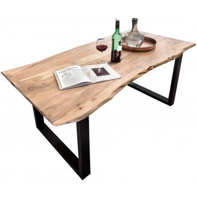 Table de salle à manger contemporaine en acacia coloris naturel avec une épaisseur plateau de 26 mm et un piètement en métal noir L. 200 x P. 100 x H. 77 cm collection Gardner