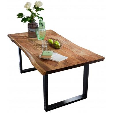 Table de salle à manger contemporaine en acacia coloris noyer et en métal noir avec une épaisseur plateau de 26 mm L. 180 x P. 90 x H. 77 cm collection Gardner