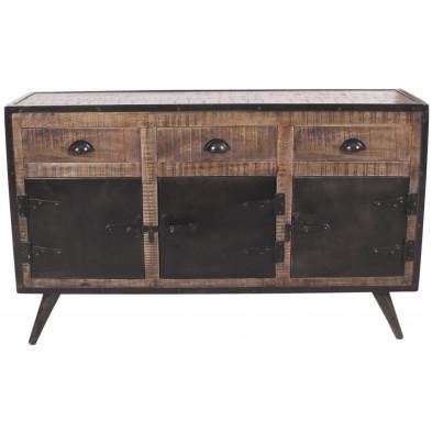Buffet industriel en bois de manguier et fer forgé 3 portes 3 tiroirs coloris marron et noir antique L. 140 x P. 40 x H. 85 cm collection Concerned