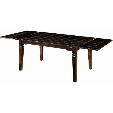 Table de salle à manger en acacia massif avec rallonges coloris marron antique L. 160 x P. 90 x H. 76 cm collection Asmaa