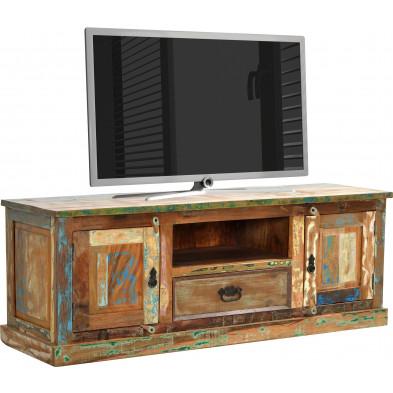 Meuble TV en bois recyclé avec 2 portes et 1 tiroir multicolore L. 140 x P. 40 x H. 50 cm collection Aduna