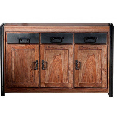 Buffet design industriel en bois de sheesham et métal coloris marron et noir L. 140 x P. 40 x H. 90 cm collection