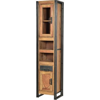 Vitrine design industriel  en bois de sheesham et métal coloris naturel et noir L. 44 x P. 34 x H. 190 cm collection Henrietta