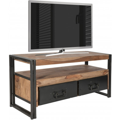 Meuble TV design industriel avec 2 tiroirs en bois massif sheesham et acier L. 112 x P. 40 x H. 55 cm collection Henrietta