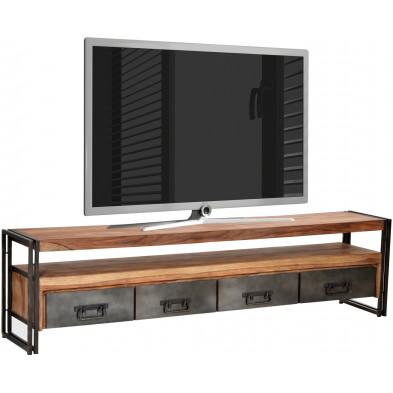 Meuble TV design industriel avec 4 tiroirs coloris marron et noir piètement en acier et structure en bois massif sheesham L. 200 x P. 40 x H. 55 cm collection Henrietta