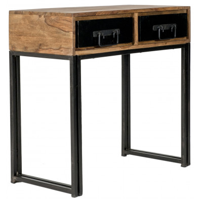 Console avec 2 tiroirs design industriel coloris marron et noir avec piètement en acier et structure bois massif sheesham L. 80 x P. 40 x H. 76 cm collection Henrietta