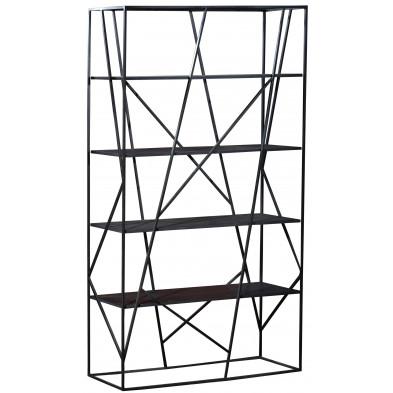 Bibliothèque coloris argenté et gris design en bois mdf et acier L. 120 x P. 38 x H. 200 cm collection Adelfina