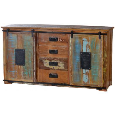 Buffet rustique en bois recyclé multicolore et en métal avec 2 portes et 3 tiroirs L. 150 x P. 38 x H. 81 cm collection Ebersole