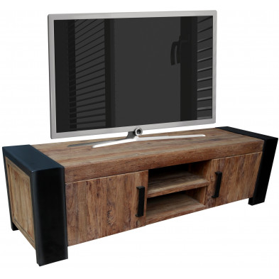 Meuble TV contemporain en teck et métal avec 2 portes et 2 compartiments coloris marron et anthracite L. 187 x P. 50 x H. 52 cm collection Claughton