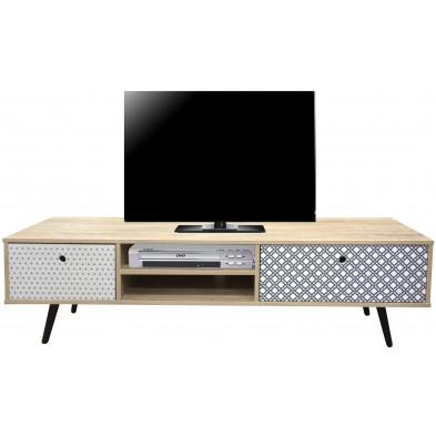 Meuble TV scandinave en MDF avec 2 tiroirs et 2 compartiments multicolore L. 150 x P. 39 x H. 40 cm collection Wakeful