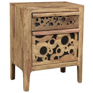 Chevet rustique avec 1 tiroir et 1 porte en bois massif sheesham et MDF L. 45 x P. 33 x H. 60 cm collection  Restrain
