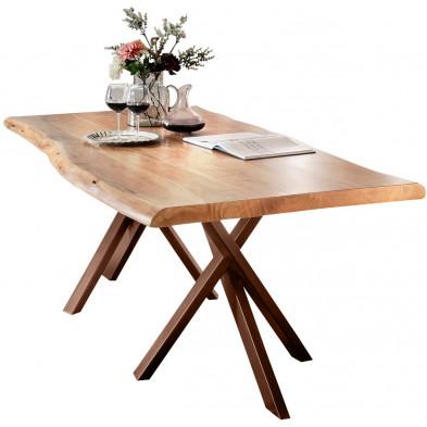 Table de salle à manger rustique  en bois massif avec piétement en métal marron et une épaisseur plateau de 56 mm L. 180 x P. 90 x H. 76 cm collection Basberg