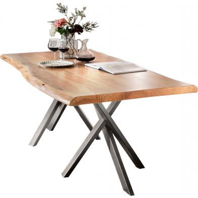 Table de salle à manger rustique en bois massif avec piétement en métal gris et une épaisseur plateau de 56 mm L. 180 x P. 90 x H. 76 cm collection Basberg