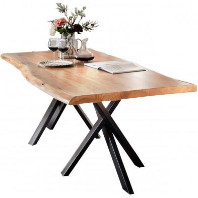 Table de salle à manger rustique en bois massif avec piétement en métal noir et une épaisseur plateau de 56 mm L. 180 x P. 100 x H. 78 cm collection Basberg