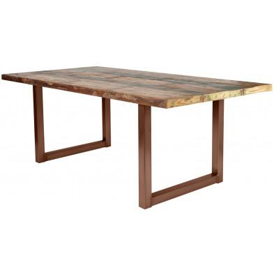 Table de salle à manger rustique en bois massif naturel avec piétement en métal marron et une épaisseur plateau de 40 mm L. 220 x P. 100 x H. 77 cm collection Quicksand