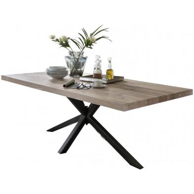 Table de salle à manger rustique en bois massif chêne avec piétement en métal noir et une épaisseur plateau de 60 mm L. 240 x P. 100 x H. 80 cm collection Inflate