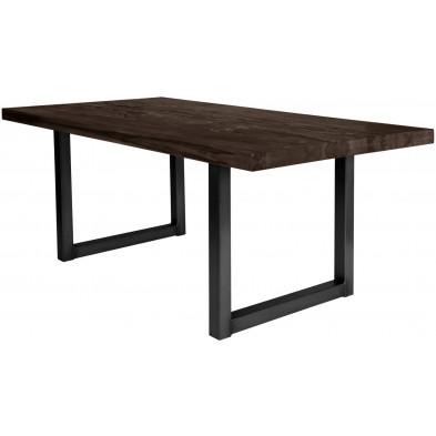 Table de salle à manger rustique en bois massif marron foncé avec piétement en métal noir et une épaisseur plateau de 60 mm L. 180 x P. 100 x H. 80 cm collection Friends