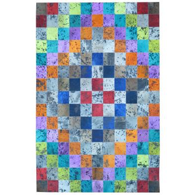Tapis rectangulaire moderne patchwork en peau de vache 170x240 cm multicolore collection Bruinenberg
