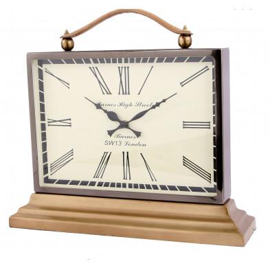 Horloge à poser style vintage en aluminium et en cuir coloris marron et beige L. 43 x P. 12 x H. 39 cm collection Bray