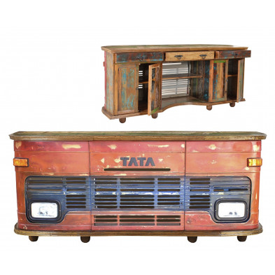Meuble bar face avant de bus TATA style vintage avec 4 portes et 3 tiroirs coloris rouge antique L. 253 x P. 65 x H. 107 cm collection Stromberg