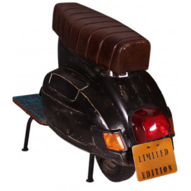 Tabouret de bar scooter vintage coloris noir et marron L. 110 x P. 50 x H. 80 cm collection Powerful