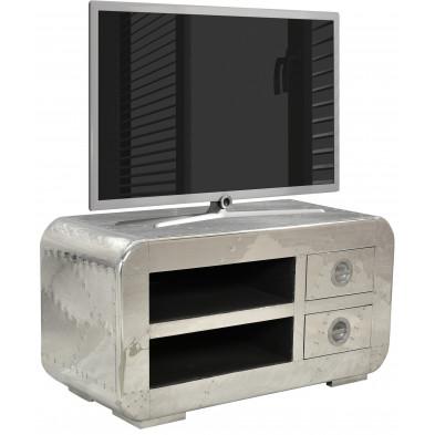 Meuble TV design en bois et aluminium avec 2 niches et 2 tiroirs coloris argent L. 100 x P. 45 x H. 50 cm collection Sashay
