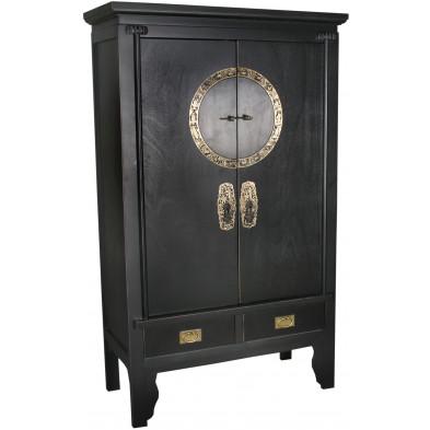 Armoire de mariage chinoise  2 portes et 2 tiroirs en bois de peuplier coloris noir L. 105 x P. 50 x H. 175 cm collection Bibon