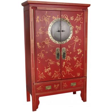 Armoire de mariage chinoise 2 portes et 2 tiroirs en bois de peuplier coloris rouge L. 105 x P. 50 x H. 175 cm collection Bibon