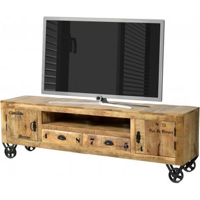 Meuble TV en bois massif de manguier avec 2 portes, 2 tiroirs et une niche ouverte coloris antique L. 200 x P. 40 x H. 55 cm collection Ronse