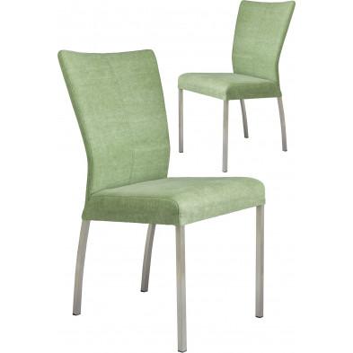 Lot de 2 chaises modernes en acier et en tissu coloris vert pistache L. 46.5 x P. 53 x H. 91 cm collection Treatment