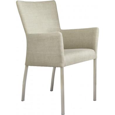 Chaise avec accoudoirs style moderne en acier et en tissu coloris beige L. 56 x P. 53 x H. 91 cm collection Lasenia