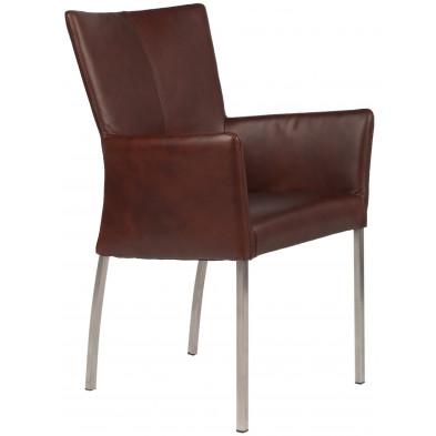 Chaise avec accoudoirs style moderne en acier et en cuir de buffle coloris cognac L. 56 x P. 53 x H. 91 cm collection Lasenia
