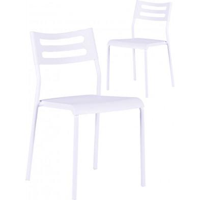 Lot de 2 chaises modernes en Polypropylène blanc avec piétement en métal L. 41 x P. 50 x H. 77 cm collection Asta