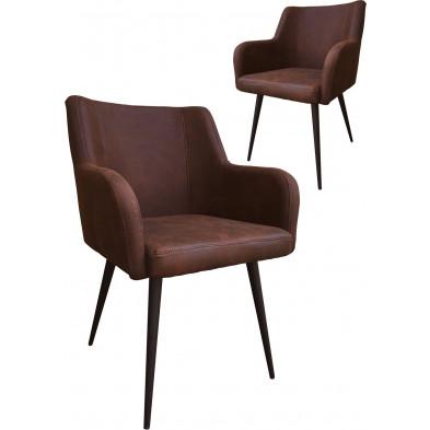 Lot de 2 chaises modernes en tissu marron antique avec piétements métalliques L. 60.5 x P. 59 x H. 84 cm collection Schroevers