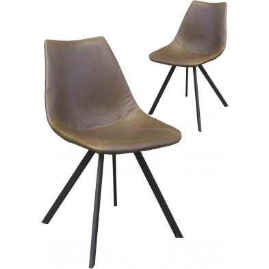 Lot de 2 chaises modernes en cuir synthétique brun antique avec piétements métalliques L. 50 x P. 61.5 x H. 84.5 cm collection Saogiao