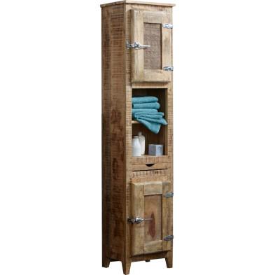 Meuble cabinet en bois massif de manguier avec 2 portes coloris naturel L. 46 x P. 30 x H. 187 cm collection Choose