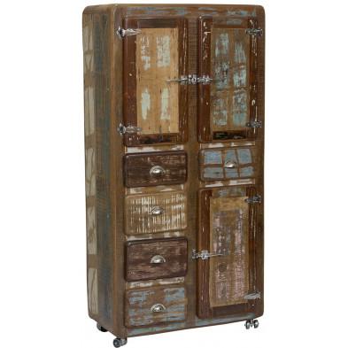 Meuble cabinet  vintage en bois recyclé avec 3 portes et 5 tiroirs coloris marron et multicolore L. 90 x P. 40 x H. 190 cm collection  Kingsnorton