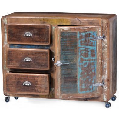 Buffet vintage en bois recyclé avec 1 porte et 3 tiroirs coloris marron et multicolore L. 100 x P. 40 x H. 90 cm collection Kingsnorton