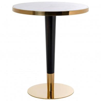 Table de bar noir  et or design en acier inoxydable brossé  L. 80 x P. 80 x H. 105 cm collection Osteria Richmond Interiors