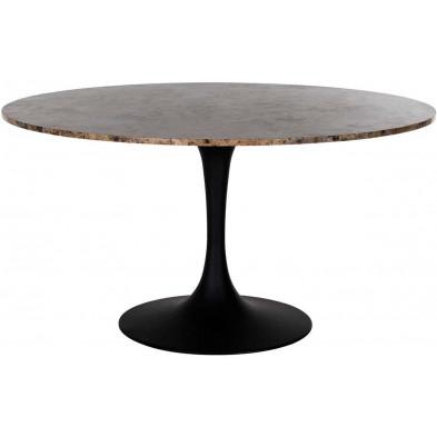 Table de salle à manger contemporaine marron industriel en acier L. 140 x P. 140 x H. 75 cm  collection Orion Richmond Interiors