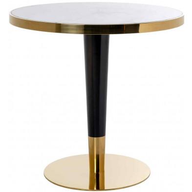 Table de salle à manger contemporaine noir industriel en acier inoxydable L. 80 x P. 80 x H. 75 cm collection Osteria Richmond Interiors
