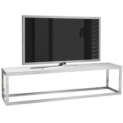 Meuble tv contemporain argenté design en acier inoxydable : L. 180 x P. 40 x H. 45 cm collection Levanto Richmond Interiors